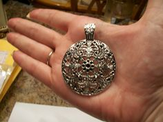 Large Round Antique Silver Pendant by TheEiffelTeaRoom on Etsy, $3.50