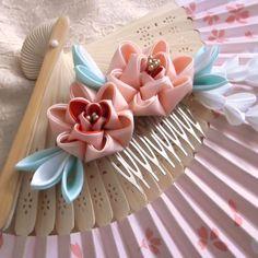 Pink peony comb kanzashi by elblack.deviantart.com on @deviantART
