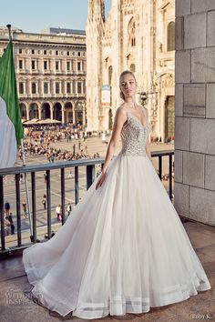 eddy k milano bridal 2017 sleeveless with strap v neck heavily embellished bodice a  line ball gown tulle wedding dress low open back (md230) mv