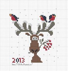 Cross Stitch Reindeer ♥ freebie ♥.