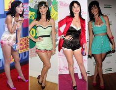 """2008 - Hot Pants Quando estourou com o hit """"I Kissed a Girl"""", Katy adotava um visual super pin-up, com direito a muitas hot pants: fofa e sexy, logo a cantora começou a chamar a atenção do mundo da moda!"""
