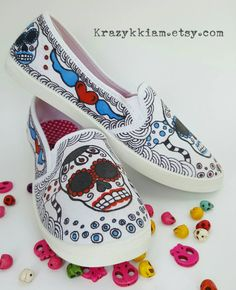 5d883ce0fde2 54 Best Sugar Skulls Day of the Dead Hand Painted Shoe Ideas images ...
