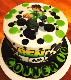 Ben 10 Cake - chocolate mud 3 layers with vanilla buttercream and edible image. By Natalie Baxter.    https://m.facebook.com/Cake-Me-Smile-by-Natalie-965591876858656/