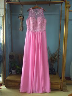 Scoop Neck Floor Length Rose Red Long Prom Dress with Pearls and Rhinestones…