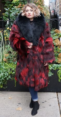 Fox Fur Coat, Fur Coats, Red Fur, Fabulous Furs, Fur Fashion, Chic Outfits, Burgundy, Plus Size, Fur Jackets