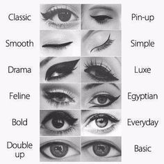 eyeliners, pinup and Egyptian are my fave Sleek Makeup, Love Makeup, Beauty Makeup, Eyeliner Styles, Shimmer Eyeshadow, Girls Makeup, Makeup Forever, City Girl, Makeup Tools