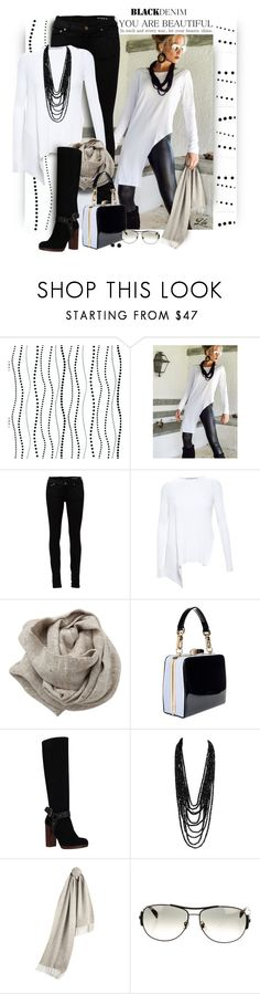 """Denim Trend: Black Jeans"" by fashion-architect-style ❤ liked on Polyvore featuring York Wallcoverings, Yves Saint Laurent, STELLA McCARTNEY, Brunello Cucinelli, KG Kurt Geiger, Burberry, Ray-Ban, women's clothing, women's fashion and women"