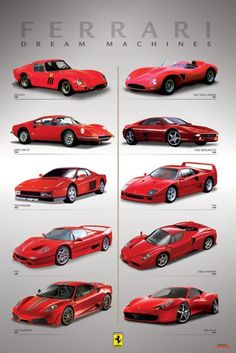 Ferrrari - Dream Machines - Official Poster. Official Merchandise. Size: 61cm x 91.5cm. FREE SHIPPING