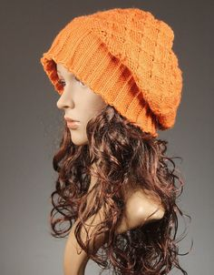 Slouchy Hat, Womens Knit Hat, Winter Hat, Winter Beanie, Slouchy Beanie, Chunky Knit, Chunky Hat,  Baggy Tam Hat  - Modern Classic Orange