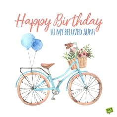 Retro birthday image with illustration of bicycle, flowers and balloons. Birthday Greetings For Aunt, Happy Birthday Wishes, Retro Birthday, Wishes For You, Birthday Images, Diy Party, Balloons, Birthdays, Cards