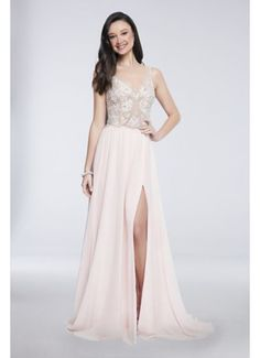 Floral-Beaded Illusion-Bodice Chiffon Gown 1711P2373