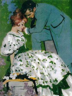 """Andy Virgil This painting illustrated the story """"The Cup, The Blade, Or The Gun"""" in the Ladies Home Journal in April 1961."""