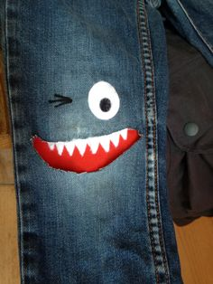 New life for boys old trousers with a hole in it, kids love this 'new' jeans!
