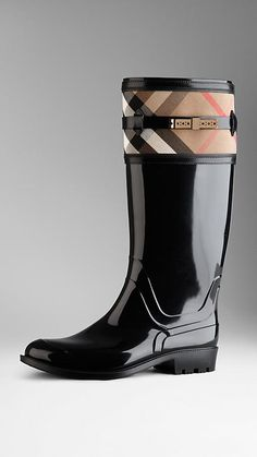 80c27ac47 House Check Detail Rain Boots | Burberry Some days I wish I could afford  $400 rain