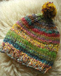 Scrappy handspun baby hat♥