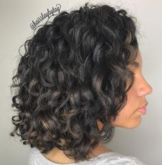 Black Curly Shoulder Length Hairstyle