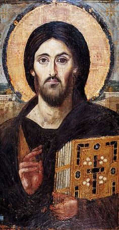 The oldest known icon of Christ Pantocrator, encaustic on panel (Saint Catherine's Monastery, Mount Sinai). The two different facial expressions on either side may emphasize Christ's dual nature as fully God and fully human
