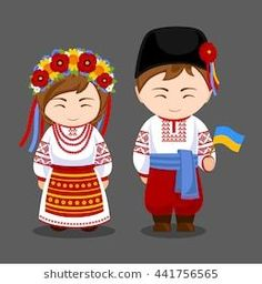 Imagens, fotos stock e vetores similares de Ukrainians in national dress with a flag. A man and a woman in traditional costume. Travel to Ukraine. Travel To Ukraine, World Thinking Day, Ukrainian Art, Flag Vector, Flat Illustration, People Of The World, Easy Drawings, Cartoon Characters, Paper Dolls