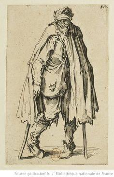 [Les gueux]. [10], [Le mendiant aux béquilles et à la besace] : [estampe] / [Jacques Callot] - 1