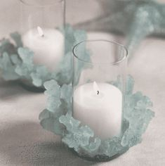 Floating Candle Holders, Diy Candle Holders, Blue Wall Colors, Sea Glass Colors, Wedding Reception Table Decorations, Beach Wedding Centerpieces, Wedding Ideas, Sea Glass Wedding, Decoration Home