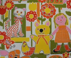 Vintage wallpaper on eBay!   Feature wall in Aria's room?...could do it above a chair rail if there wasn't enough to do a whole wall.    1960's Children's Theme Retro Bears Cats Dolls Vintage Wallpaper | eBay