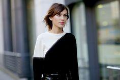 Black & White color-block jumper. © Jessie Bush  (Street-Style, London Fashion Week Februar 2015)