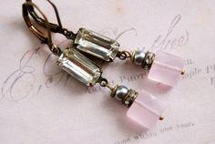 Gwen. rose quartz gemstonerhinestone drop by tiedupmemories, $28.00