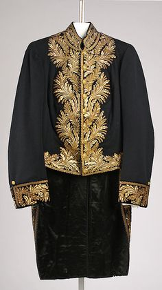 19th Century Coat of wool and metallic thread. http://www.metmuseum.org/Collections/search-the-collections/80036811?rpp=60=2=*=A.D.+1800-1900=Europe=Coats=77#