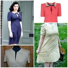 Top two Tara Starlet Lace Collar dress, bottom two my Sew For Victory dress Lace Collar, Collar Dress, Vintage Dress Patterns, Vintage Sewing, Vintage Inspired Dresses, Victorious, Pin Up, Dresses For Work, Sewing Box