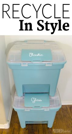 Seriously I've been dreaming of something like this! Recycle in Style: Recycling bins don't have to be ugly and utilitarian. You can be enviromental friendly AND stylish at the same time with pretty, organizing recycling bins like these! Recycling Storage, Recycling Station, Recycling Containers, Recycling Center, Kitchen Recycling Bins, Indoor Recycling Bins, Recycling Logo, Recycling Ideas, Kitchen Compost Bin