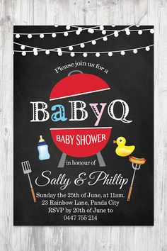 BabyQ Shower Invitation Chalkboard Co-ed Baby Shower Invite Babyque Boy or Gril. Baby Q Shower, Reds Bbq, Chalkboard Background, Baby Shower Invitations, Etsy Store, Rsvp, Invite, Printable, Messages
