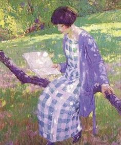 < A Summer Walk > Charles Courtney Curran: 찰스 커트니 커란은 미국의 인상파 화가이다. 그림 속 여인은 책을 들고 산책 나왔다가 앉을 수 있게 생긴 나무를 보고 그곳에 대롱대롱 앉아 책을 읽고 있는 모습처럼 보인다. 인상파 화가답게 전체적인 그림 속에 햇살이 부서지고 있다. 나뭇잎 사이사이로 비치는 듯한 햇빛은 빛의 알갱이가 되어 그녀의 온몸, 그녀가 보고 있는 책을 따뜻하게 비추고 있다. 또한 풀밭에도 햇빛이 비추는 모습을 상세하게 나타내고 있는데 이런 상세하고 사실적인 표현 덕분에 햇빛의 따스함이 나에게도 전달되는 듯 하다.