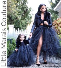 Dramatic Adult Tutu Skirt Black Puffy Maternity Tutu Mommy and Me Tutu Maxi Long Skirt Fashion Photography Costumes Custom Made Mother Daughter Photos, Mother Daughter Fashion, Mom Daughter, Mother Daughter Matching Outfits, Mother Daughters, Adult Tutu Skirts, Tulle Skirts, Tutu Dress Adult, Tulle Poms