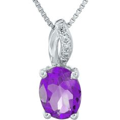 Genuine Amethyst and Diamond-Accent Sterling Silver Pendant Necklace ($162) ❤ liked on Polyvore featuring jewelry, necklaces, pendant necklace, long pendant necklaces, sterling silver necklace, amethyst necklace and sterling silver amethyst pendant