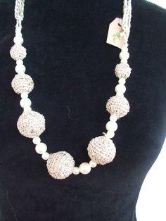 collana uncinetto sfere perle cotone, by maglieria magica, 35,00 € su misshobby.com
