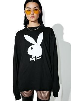 "Junk Food Clothing Playboy Long Sleeve Tee cuz life is too short to be livin' someone else's dream, bb~ Let 'em know you got connections in this sikk tee featuring long sleeves, ribbed collar and cuffs, Playboy bunny logo in white on the front and print on the back that reads ""VIP since 1953."""