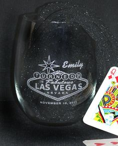 21st Birthday in Vegas Stemless Wine Glass -  Personalized - Engraved. $8.50, via Etsy.