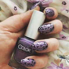 Lazy bank holiday Monday nails using @colorclubnaillacquer in eternal beauty and @moyou_london enchanted plate number 16 #nailstamping #moyoulondon #triangles #purple #holo #lilac #nailart #nails #colorclub