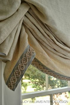 the right trim can make the drape. Samuel and Sons Passementerie Available through blinds, curtains Samuel And Sons, Curtains With Blinds, Valances, Burlap Curtains, Linen Curtain, Window Blinds, Roman Blinds, Custom Window Treatments, Passementerie