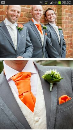 Orange Tie For Groom With Cream Waistcoat And Grey Suit Nick Rutter Photography