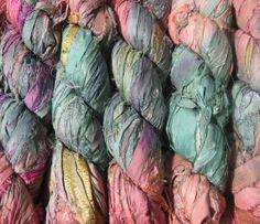 SALE  Recycled Sari Silk Ribbon  Tropical Flowers by YarnAndFiber, $9.99