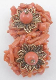 Miriam Haskell Coral Dress Clip - Garden Party Collection Vintage Jewelry