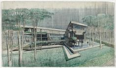 House. Perspective. Rendering / Paul Rudolph 81. [Ten Bungalows Project, Hong Kong. Drawing of a single unit] | Paul Rudolph