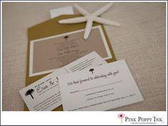 Destination wedding pocketfold invitation. Chartreuse pocketfold, paper bag invitation with white backer.