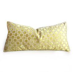 Robert Allen Citrine Yellow Cut Velvet Geo Geometric Pillow Cover
