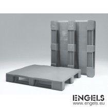 Kunststof hygiënepallet 1200x1000x160 mm, 3 sleden, gesloten dek grijs
