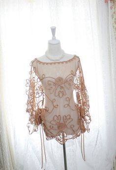 Victorian airy beige lace flower embroidery by MiaDressShop, $38.00