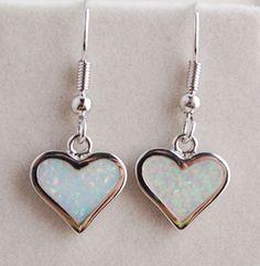 925 Sterling Silver Mother Of Pearl Opal Heart Shaped Earrings Http