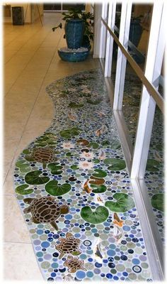 Turtles and lily pads - mosaic art with tile