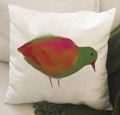 Housse de coussin effet velours OU canevas 18 x 18 lavable Parrot, Etsy, Orange, Animals, Canvas, Throw Pillows, Velvet, Impressionism, Green
